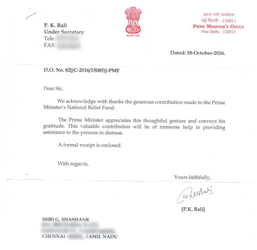 Sample Letter To Prime Minister Of India