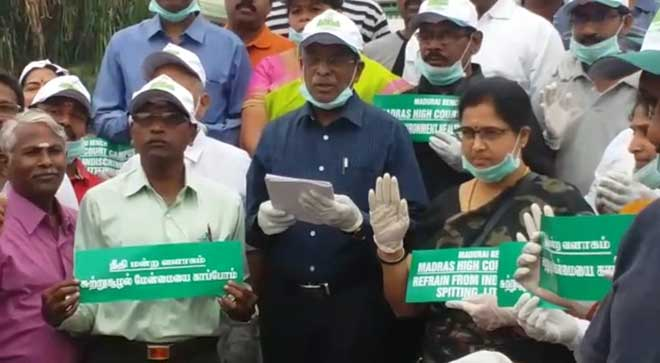 Banega Swachh India - Madras High Court Clean up Drive - Justices S Nagamuthu, S Vimala, S S Sundar and V Bharathidasan led a day long cleaning up activity