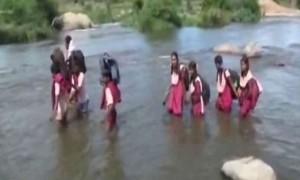 No Bridge On Tamil Nadu River, Children Cross It On Foot To Reach School