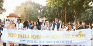 3,000 Children March To Kick Off '100 Million For 100 Million' Campaign