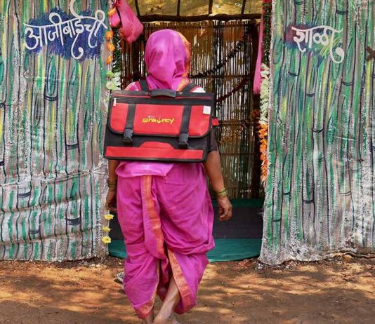 Pink Uniform Saree, Backpacks On, These Grannies Go To School