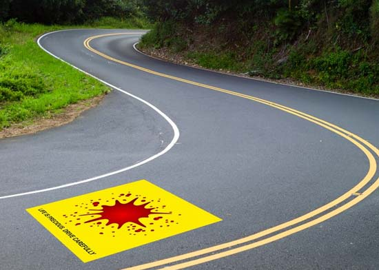 Yellow Square, Red Blotch: Traffic Police, Kozhikode City Mark Death Spots To Caution Riders And Pedestrians