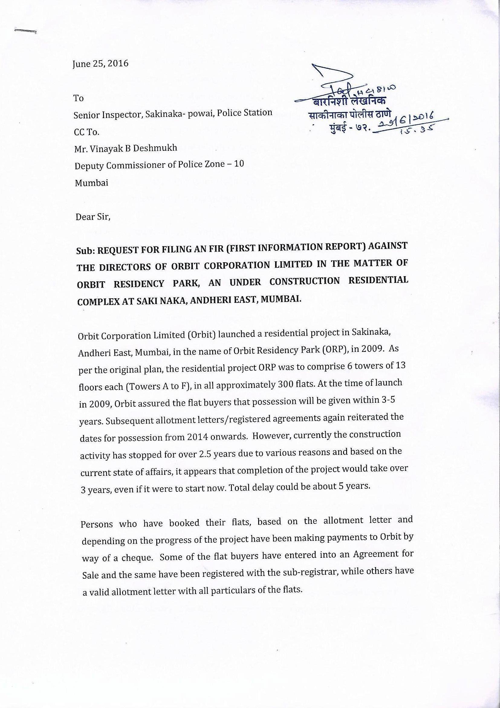 Orbit Residency Park Complaint
