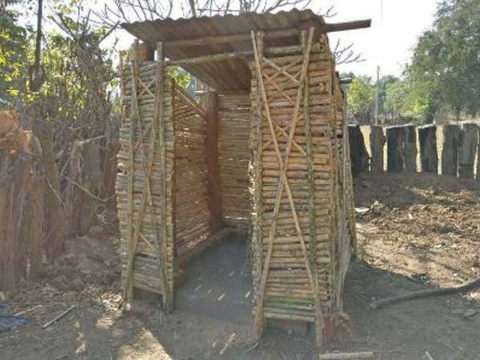 Toilets of bamboo structures were also constructed at some households