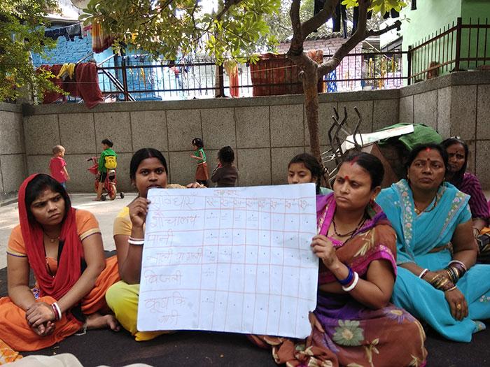 Community Management Committee members at the Janta Jeevan Camp