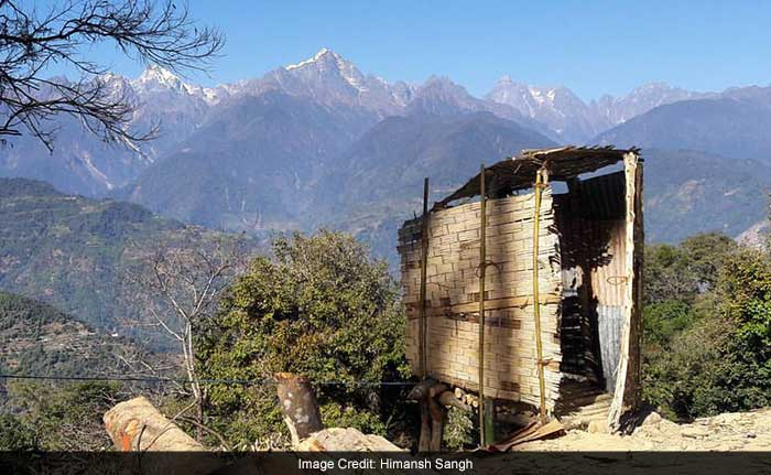 Many people in Sikkim used toilets made of bamboo structures