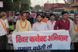 River activists in Agra arranged for a protest march to bring to attention the plight of the Yamuna in Agra