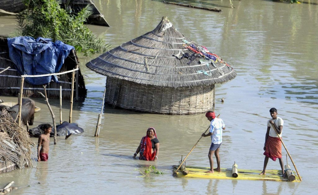 Large parts of Bihar and Uttar Pradesh are flooded because of heavy rain.