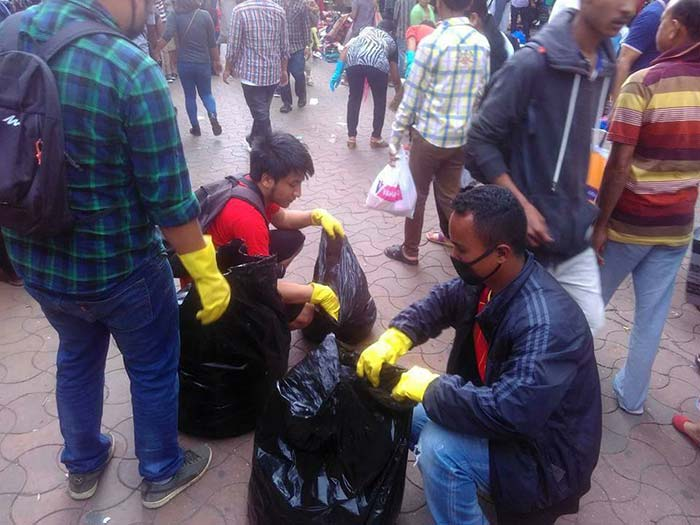 A clean up drive at Shillong's busy Police Bazaar