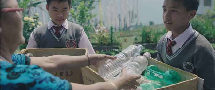 Students go to adjoining villages to collected waste from residents