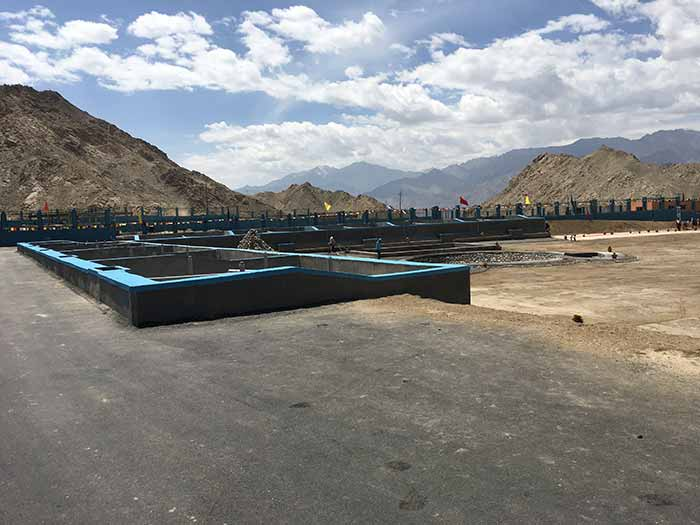 A view of the Faecal Sludge Treatment Plant at Leh