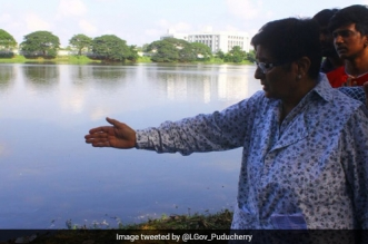 Puducherry Lieutenant Governor Kiran Bedi's Recent Field Trip Takes Stock Of Water Pollution In Kanakan Eri