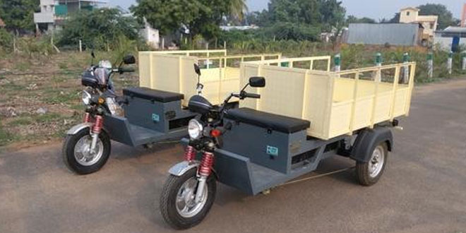 Battery operated garbage collection vehicle