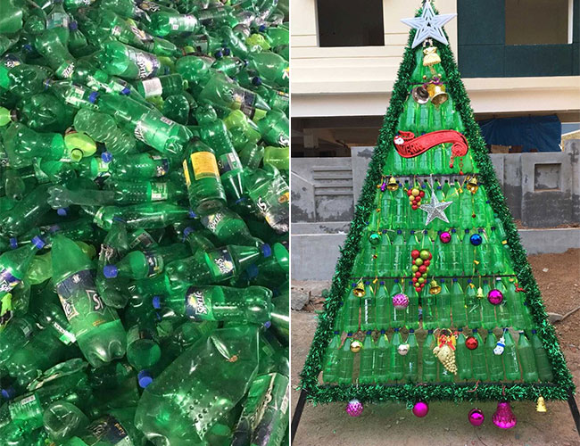 Christmas Trees From 2,000 Discarded Plastic Bottles To Adorn Hyderabad's Waste Free Festivities