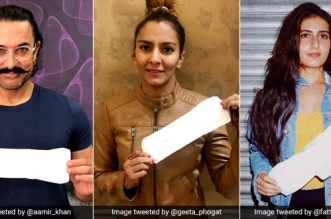 #PadManChallenge It's 'Dangal' Against Shame As Geeta Phogat And On-Screen Phogat Family Hold Up Sanitary Pads