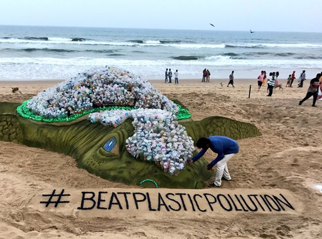 On World Environment Day 2018, A Big 'Plastic' Sand Turtle Installation Sends A Message Of #BeatPlasticPollution At Odisha's Puri Beach