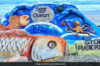 World Oceans Day: Sand Artist Sudarsan Pattnaik Spreads The Message Of 'Save Our Oceans From Plastic Pollution' At Odisha's Puri Beach