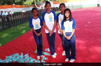 Four kids cleaned the FRI ground at Dehradun, post the World Yoga Day celebrations