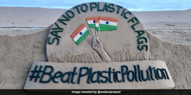 This Independence Day, #BeatPlasticPollution And Say No To Plastic Flags, Says Sudarsan Pattnaik Through His Sand Art