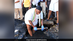 Swachhata Hi Seva: Puducherry CM Gets Inside A Drain To Spread The Message Of Cleanliness
