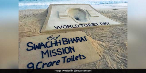 On World Toilet Day, PM Modi Lauds Sand Artist Sudarsan Pattnaik For His Art Installation Of A Toilet