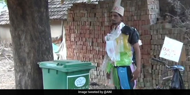 Known as the 'Chalta-Phirta' dustbin, Bishnu Bhagat has launched a battle against plastic