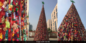 For A Merry Christmas Go Zero-Waste: A 40-Feet Tall Christmas Tree Created From Scrap Material In Gurugram
