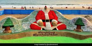 Sand Artist Sudarsan Pattnaik Creates A Santa With 10,000 Plastic Bottles To Mark Green Christmas