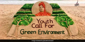 Sudarsan Pattnaik's Sand Art On National Youth Day Inspires Youth To Aim For Green Environment