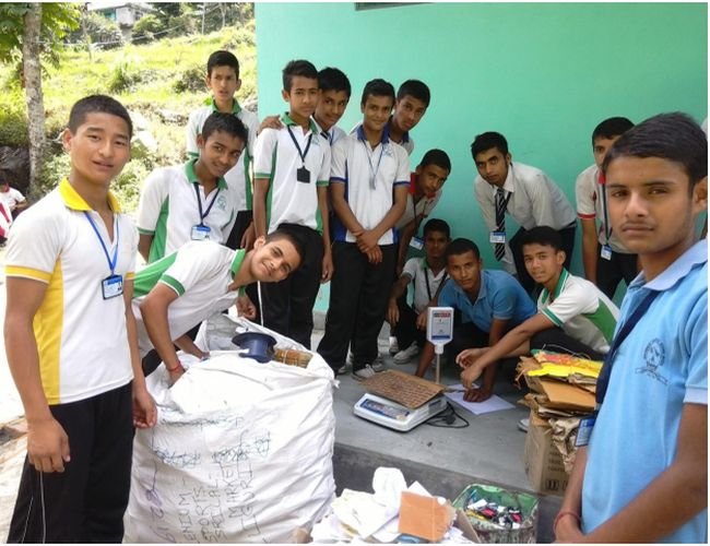Every once in three months, the group of students along with Lomas collect around 100 kilos of waste from people's houses and store it in a room provided by the school.