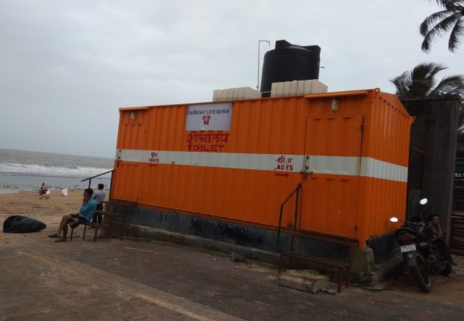 Bio-toilet at Juhu beach has six seats, three each for men and women