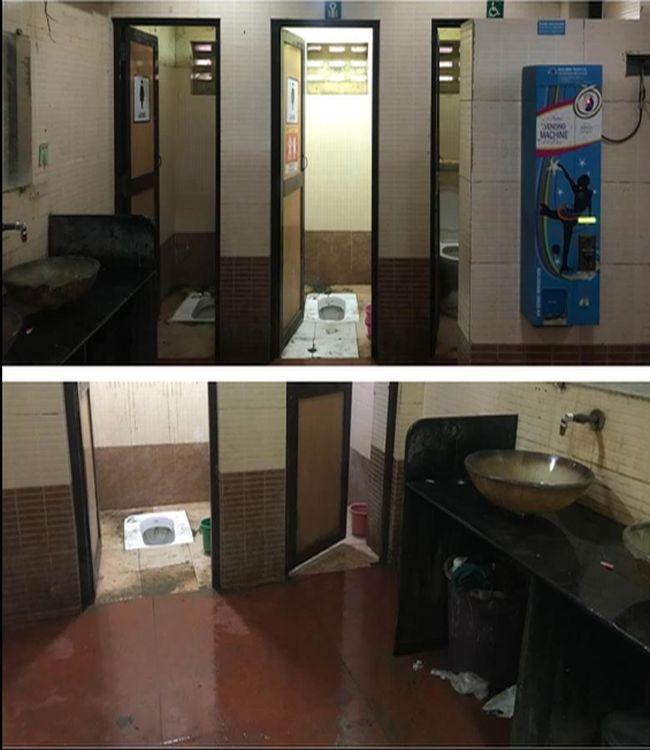 Toilet at Bhajiwala Chowk, Dadar West has an overflowing dusbin in the female section