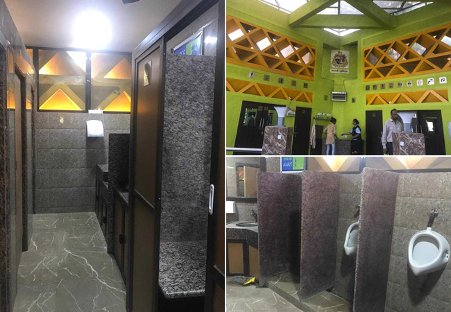 The toilets are equipped with an ATM, free WiFi, showers, changing room for mothers with infants, a sanitary napkin dispenser and a public seating arrangement