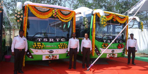 Public Transport In Telangana Goes Electric As 40 Electric Buses Hit Hyderabad Roads