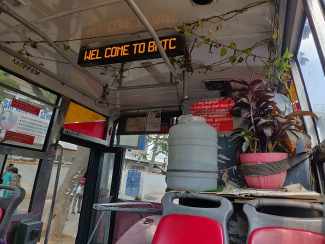Ever Seen A Mini Garden Inside A Bus? This Bengaluru Bus Driver Makes It A Reality