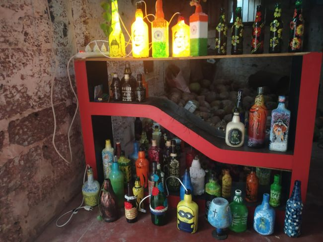 Waste bottles given a new lease of life by Mangaluru artist