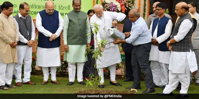 PM Narendra Modi Votes For Greener India As He Participates In The Parliament Plantation Programme With Union Ministers Amit Shah, Rajnath Singh