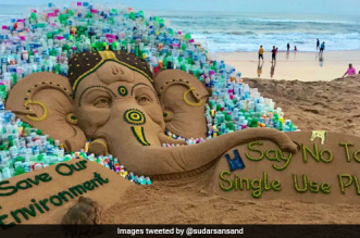 Say No To Single-Use Plastic: Sand Artist Sudarshan Pattnaik's Ganesh Chaturthi Art Comes With A Message