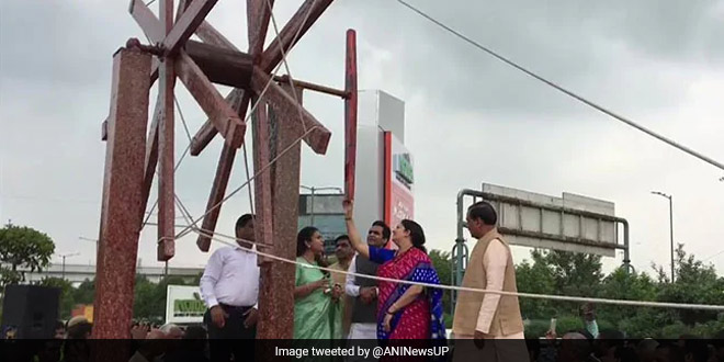 Tackling Plastic Waste: India's Largest 'Charkha' Made Of Waste Plastic Inaugurated In Noida