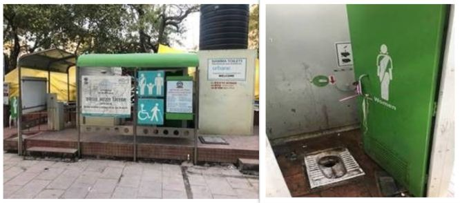 The urinals in the public conveniences in Preet Vihar community centre were open for all who are either occupants of the complex, visiting it or people just passing by