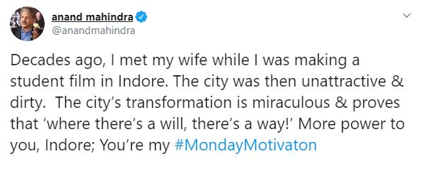 India's Cleanest City Indore Is Anand Mahindra's Monday Motivation, Gets Praised For The Swachh Transformation
