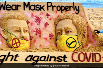 Going With COVID-19 As The Theme, Sand Artist Sudarsan Pattnaik's Latest Creation Urges People To Wear Masks