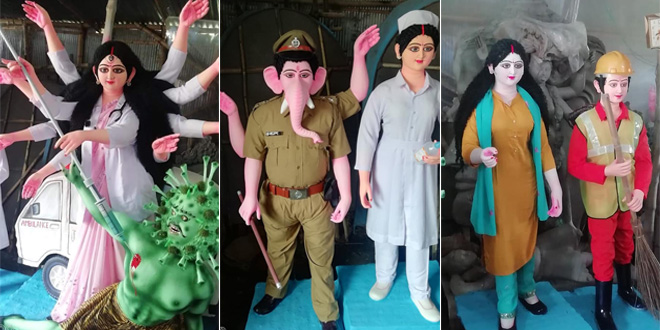 Goddess Durga Turns Destroyer Of Coronavirus In This COVID-Themed Durga Puja, Shashi Tharoor Praises It As, 'Brilliantly Appropriate'
