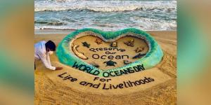 World Oceans Day 2021: Sand Art At Odisha's Puri Beach Calls To 'Preserve Ocean, Life And Livelihoods'